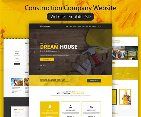 free website construction template construction company website template psd