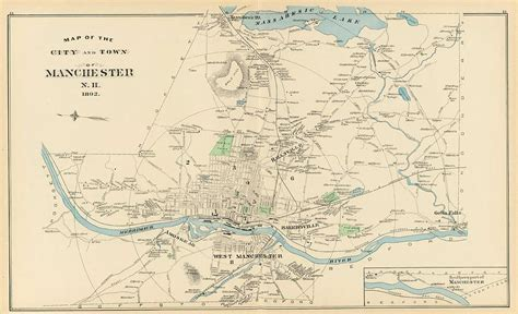 manchester new hshire map vintage map of manchester nh 1892 drawing by
