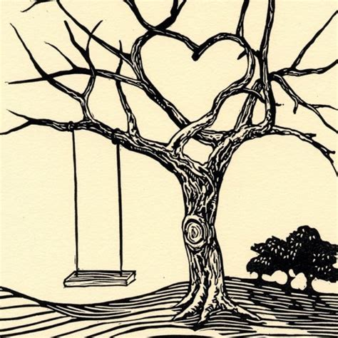 tree with swing drawing love the heart needs lots of soft leaves little girl on