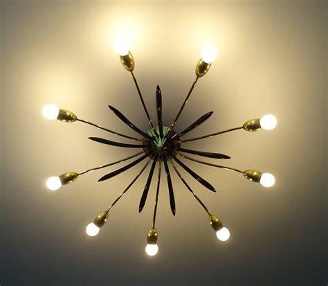 mid century sunburst flush mount light brass ceiling