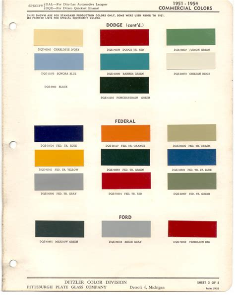 paint chips 1954 ford truck fleet commercial