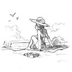 dessin de maillot de bain coloriage fille sur la plage