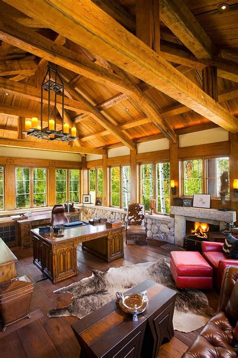 exquisite home offices  stone walls