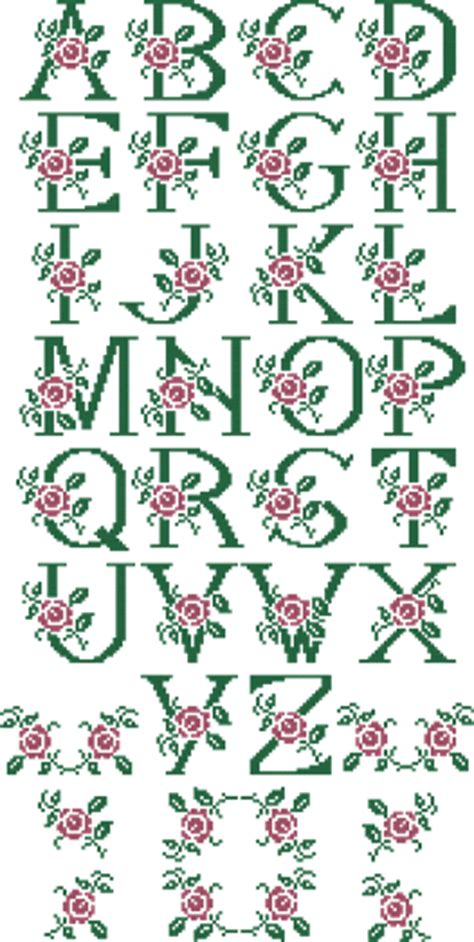 rose pattern font alphabets embroidery 10305 rose monogram alphabet cross