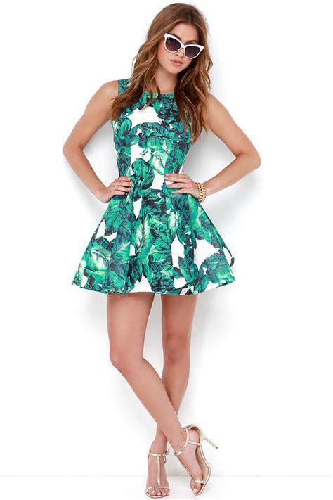 Leaf Print Dress Smlxl S460 chic leaf print dress printed dress green dress 72 00