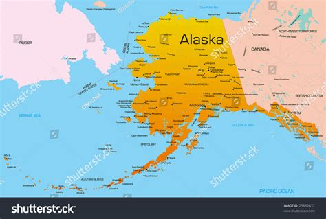 usa alaska map vector color map alaska state usa stock vector 25832437