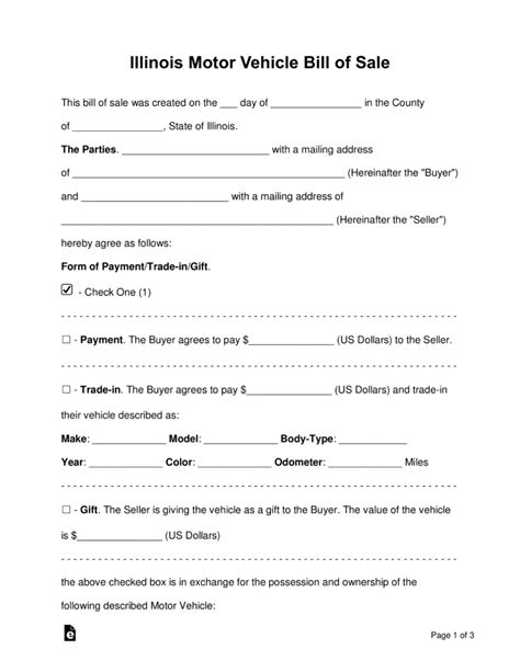 Free Illinois Bill Of Sale Forms Word Pdf Eforms Free Fillable Forms Car Bill Of Sale Template