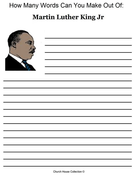 printable mlk writing paper church house collection blog free martin luther king jr