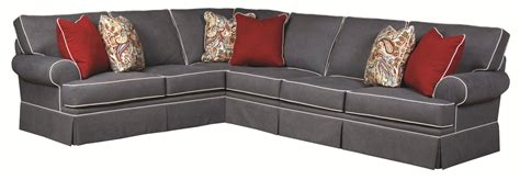 sofa with skirted base broyhill furniture emily transitional 3 sectional