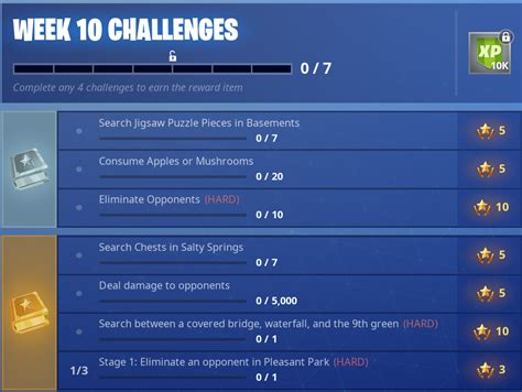 fortnite challenges for season 5 here are the official week 10 season 5 fortnite