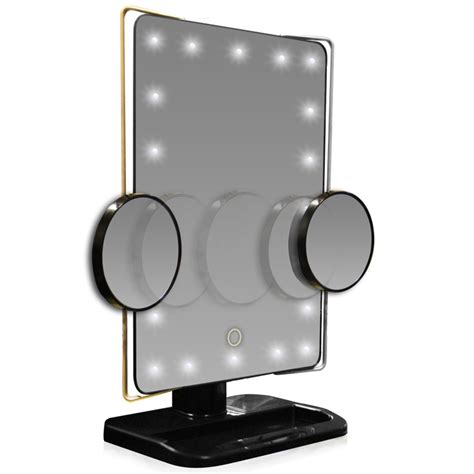 Lit Vanity Mirror l e d lighted movable 10x magnification vanity mirror