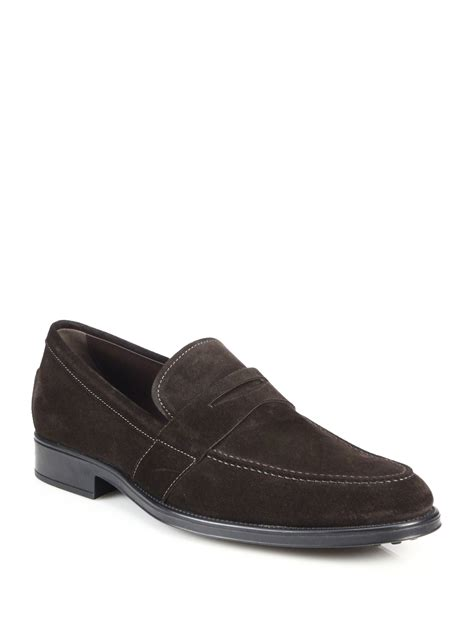 brown loafers for tod s suede loafers in brown for lyst