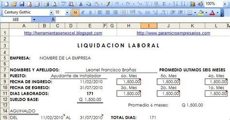 calculo de liquidaci 243 n y prestaciones laborales en excel descargar gratis plantilla para calculo de liquidacion y