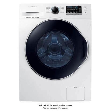 samsung 24 in 2 2 doe cu ft high efficiency front load washer with steam in white energy