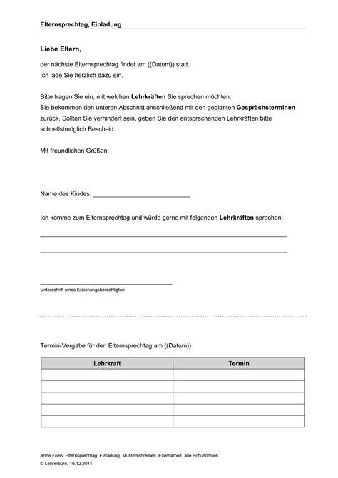 Muster Einladung Elternabend Gymnasium Elternsprechtag 183 Arbeitshilfen 183 Grundschule 183 Lehrerb 252 Ro