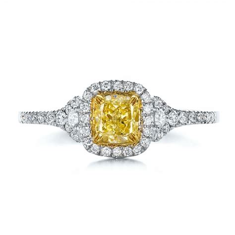 fancy yellow with halo engagement ring 100564