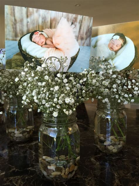 centerpieces  baby girls baptism reception mason jar