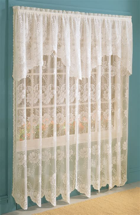 Lace Valance Curtains Lace Panel W Attached Valance Eggshell Lichtenberg View All Curtains