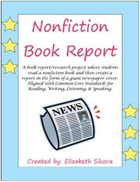 newspaper book report newspaper cover book reports and nonfiction on