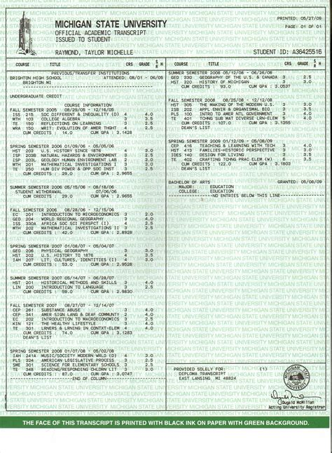official transcript template official transcript template images