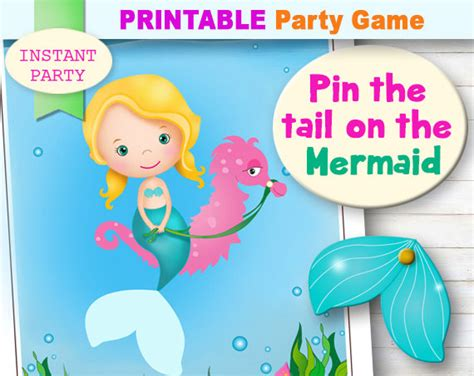 pin the tail on the mermaid printable party game mermaid
