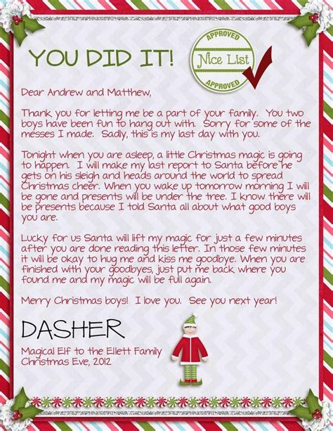 elf on the shelf warning letter from santa printable elf on the shelf letter from santa template incheonfair