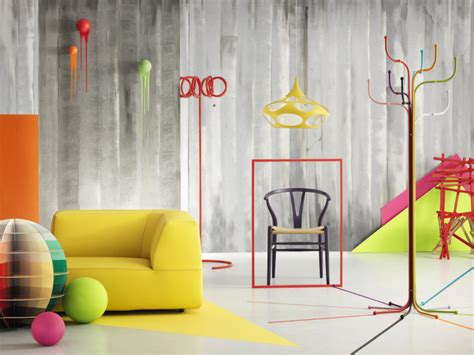 colorful interiors yellow chair and coloured wall feature interior design ideas