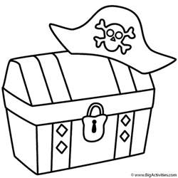 treasure chest with pirate hat coloring page pirates
