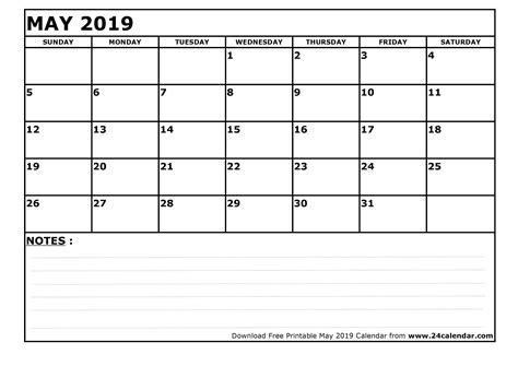 Calendar 2019 May Blank May 2019 Calendar In Printable Format