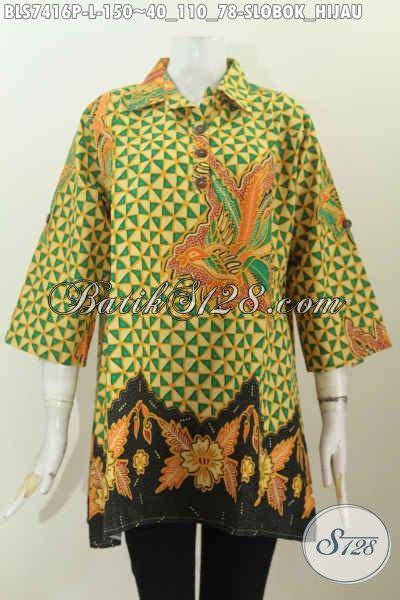 Baju Untuk Kerja Kantoran produk baju batik kerja wanita kantoran motif slobok hijau blus batik printing kancing depan