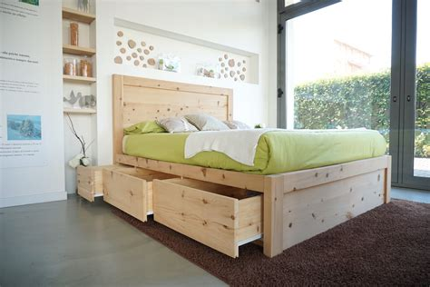 legno  cirmolo letto matrimoniale   cassetti