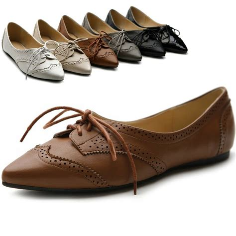 ollio womens ballet pointed toe flats lace up shoes oxford ebay