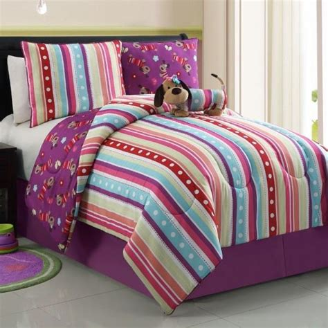 dog bedding set new bed bag twin full purple pink stripe dog puppy girls