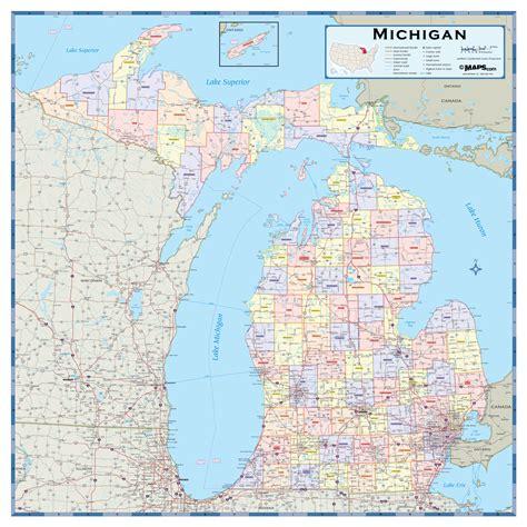 mi county map michigan counties wall map maps