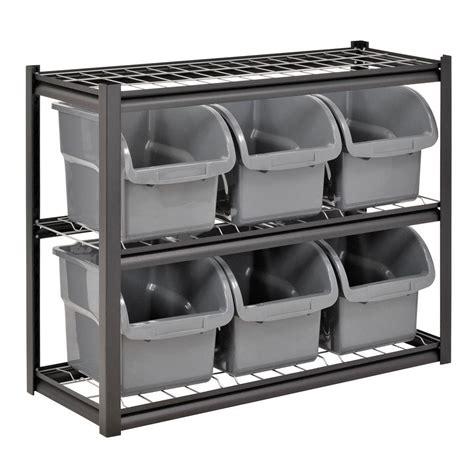 edsal 33 in h x 44 in w x 16 in d 2 shelf 6 bin