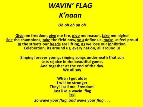 k lyrics wavin flag k naan