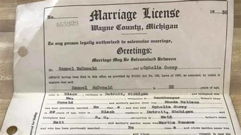 How To Find Marriage Records Free Hopes To Find Family Of Lost Michigan Marriage