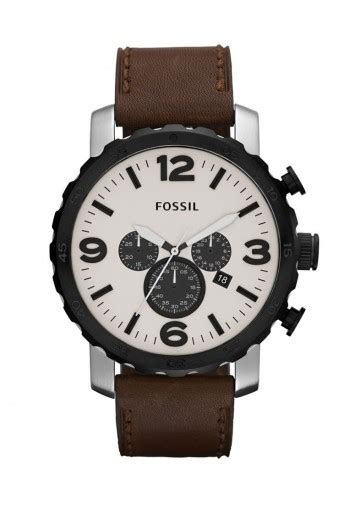 Fossil Nate Chronograph Luggage Leather Set Jr1524 fossil nate collection chronograph leather brown