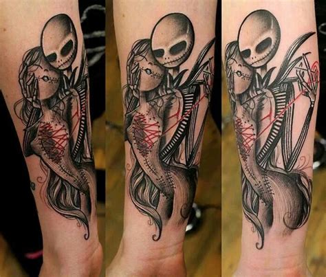 jack and sally tattoos nightmare before sewing his