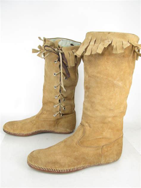 mens knee high moccasin boots mens vintage camel leather moccasin fringe side lace up