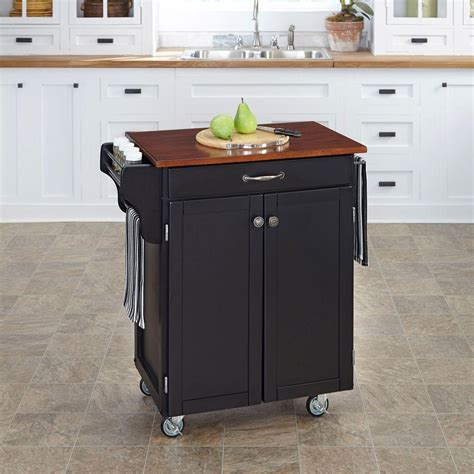 homedepot kitchen island home styles cuisine cart black kitchen cart with cherry