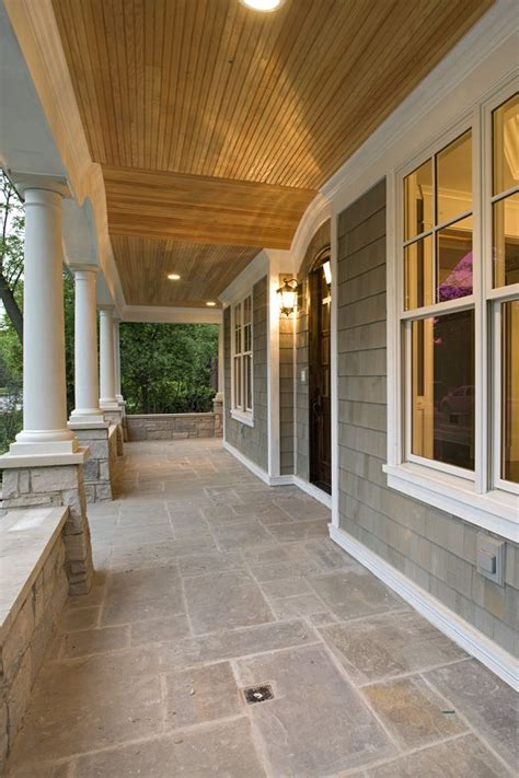 Front Porch Ceiling by Like The Grey Shingles With Cedar Ceiling And White Trim