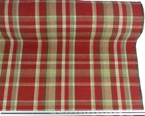check fabric for upholstery tartan check wool look and feel red beige upholstery