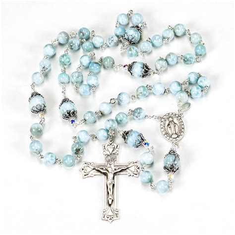 Handcrafted Rosaries - blue larimar rosary rosaries and chaplets by sue