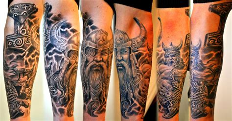 viking tribal tattoos sleeve grey ink viking sleeve