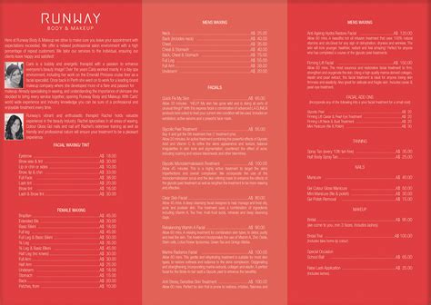 salon menu layout beauty salon brochure design for a company by vega designs