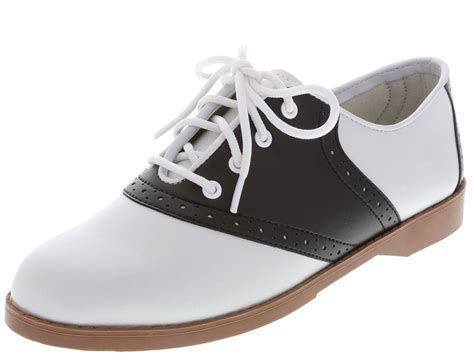Saddle Shoes by Womens Classic 50s Style Black And White Saddle Shoes All