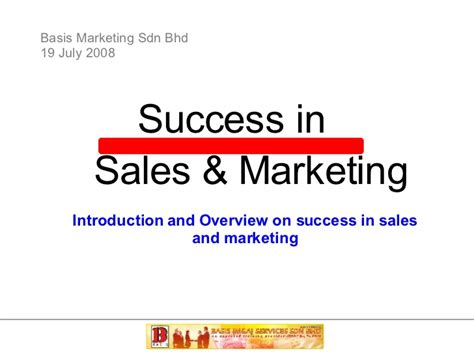 Courses On Marketing 1 by Success In Sales And Marketing Part 1 Basis Marketing