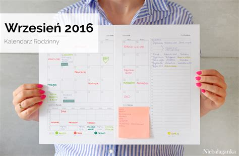 kalendarz 2016 do wydruku rodzinny kalendarz na wrzesień 2016 do wydruku niebałaganka
