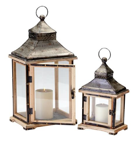 Home Decor Candle Lanterns Oxford Rustic Lodge Iron Wood Candle Lanterns Set Of 2 Kathy Kuo Home
